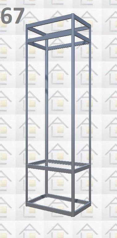 Конструктор (каркас) вітрини № 67 з алюмінієвого профілю (2578)1449,2576,2721