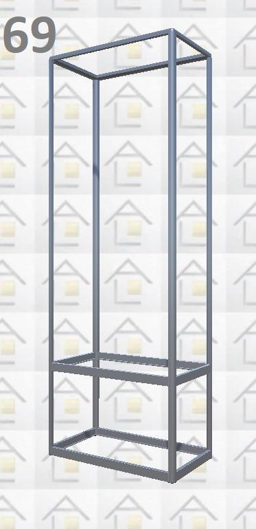Конструктор (каркас) витрины № 69 из алюминиевого профиля (2578)1449,2576,2721