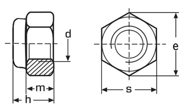Схема оцинкованной самоконтрящейся гайки DIN 985 купить