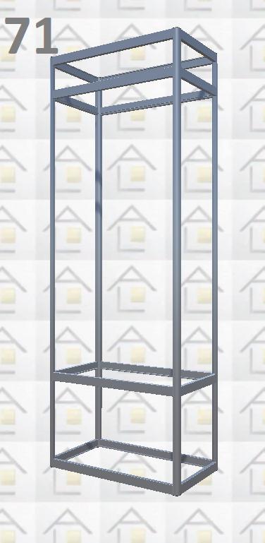 Конструктор (каркас) витрины № 71 из алюминиевого профиля (2578)1449,2576,2721