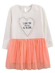 Детское трикотажное платье на девочку персик, р.98-128