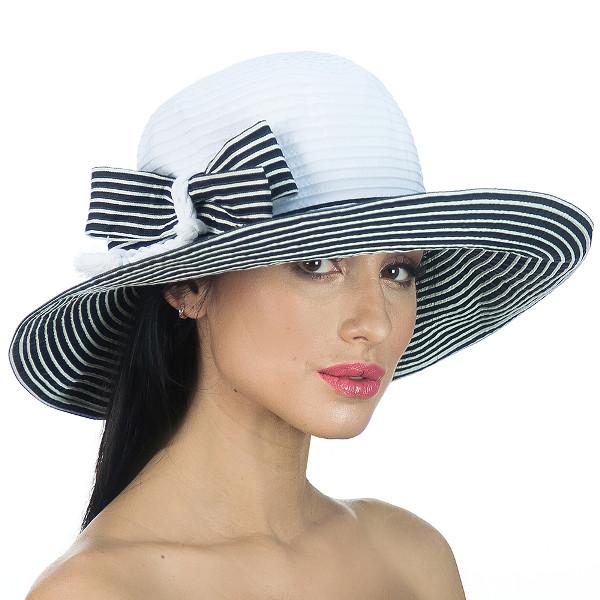 Річна крислатий двоколірна капелюх з бантом чорна