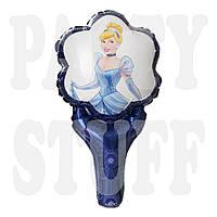 Шар фольгированный с ручкой Принцесса, синий 50 см