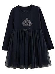 Детское нарядное платье на девочку, синее, р.98-104