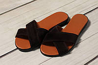 Женские кожаные замшевы шлепки TIFFANY на каблуке низком ходу платформе оптом, фото 1