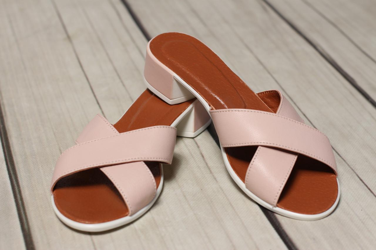 Женские кожаные шлепки TIFFANY на каблуке  оптом