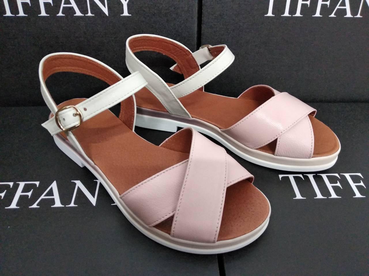 3dd7c3ecabd Женские кожаные босоножки сандалии TIFFANY на танкетке платформе оптом