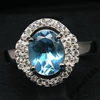Серебряный перстень с голубым топазом, размер 17,4, фото 1