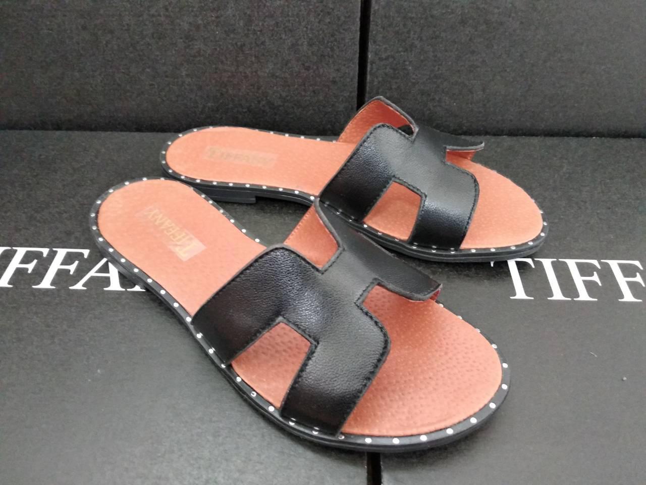 Женские кожаные замшевые шлепки TIFFANY на каблуке низком ходу аналог HERMES  оптом