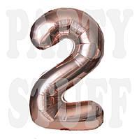 Фольгированная цифра 2 Розовое золото, 80 см