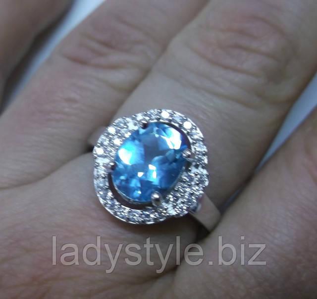 купить кольцо перстень серебряный с натуральным голубым топазом украшения