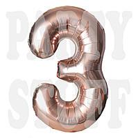 Фольгированная цифра 3 розовое золото, 80 см