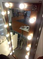 Зеркало гримерное, зеркало с лампочками, зеркало в деревянной раме
