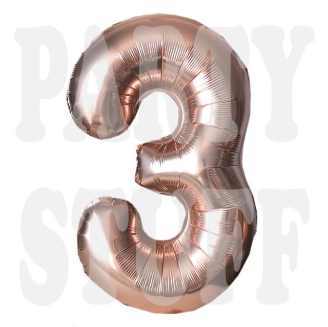 Фольгированная цифра 3 розовое золото
