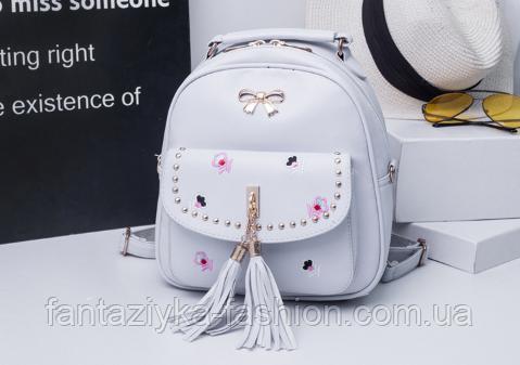 Женский рюкзак с вышивкой серый