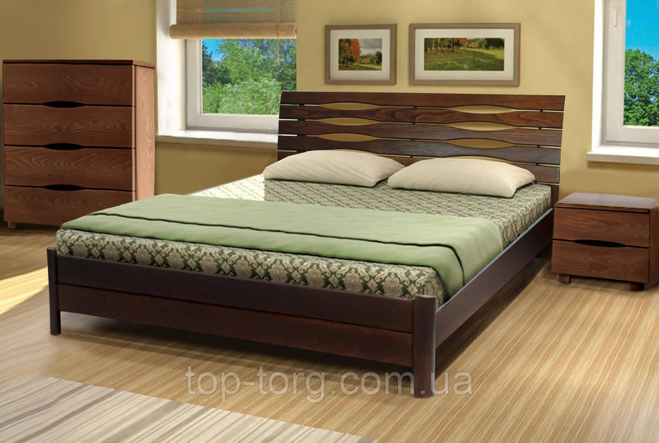Кровать Мария, 1600х2000мм темный орех, деревянная