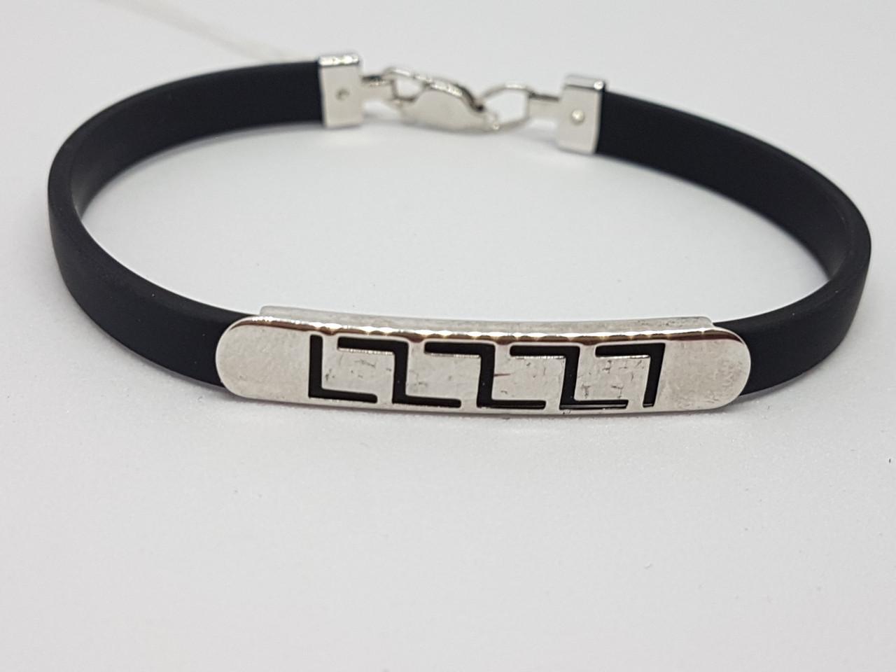 Срібний браслет з каучуком. Артикул 910031С 18