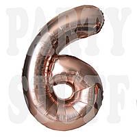 Фольгированная цифра 6 розовое золото, 80 см