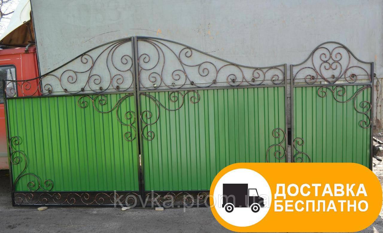 Ворота с калиткой из профнастилом, код: Р-0106