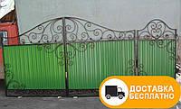 Ворота с калиткой из профнастилом, код: Р-0106, фото 1