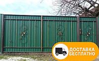 Распашные ворота из профлистила, код: Р-0109
