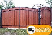 Ворота с калиткой из профнастила, код: Р-0105