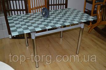 Стол Токио Б (80х100см)серый в шахмотную клетку+хром.ножки, стеклянный, раскладной