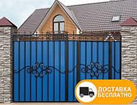 Ворота с встроенной калиткой, код: Р-0110, фото 1