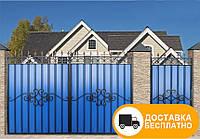 Ворота с наружной калиткой из профнастилом, код: Р-0111