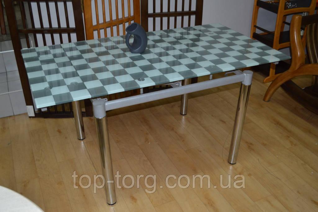 Стол Токио М  70/120*70см серый в шахмотную клетку+хром.ножки, стеклянный, раскладной