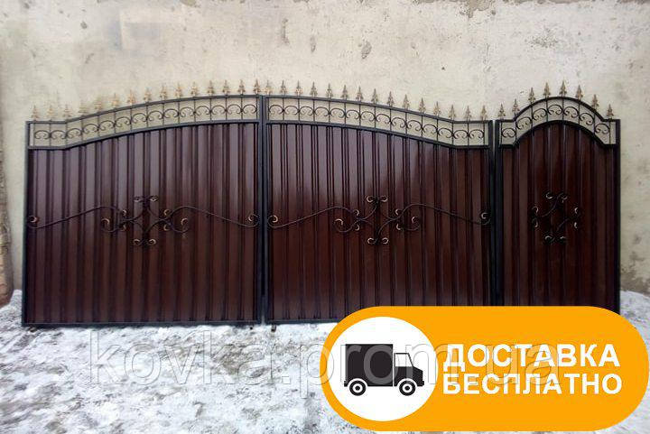 Ворота с коваными элементами и профнастилом, код: Р-0116