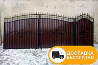 Ворота с коваными элементами и профнастилом, код: Р-0116, фото 1