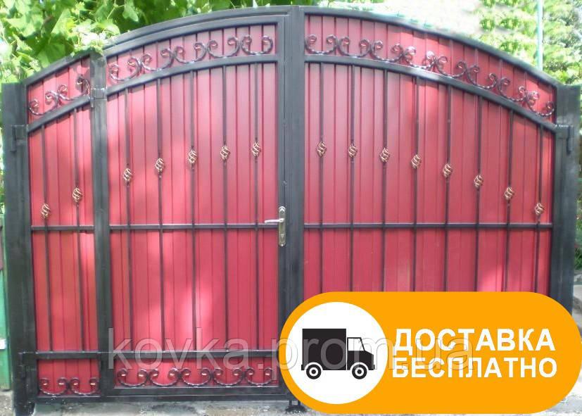 Распашные ворота с встроенной калиткой, код: Р-0117