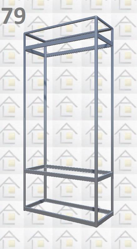 Конструктор (каркас) витрины № 79 из алюминиевого профиля (2578)1449,2576,2721