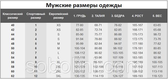 мужская размерная таблица