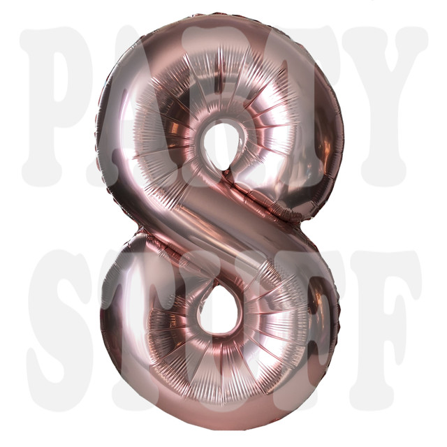 Фольгированный шар цифра 8 розовое золото