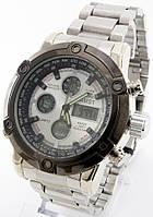Мужские наручные часы, (белый циферблат, серебристый ремешок), фото 1
