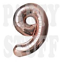 Фольгированный шар цифра 9 розовое золото, 80 см