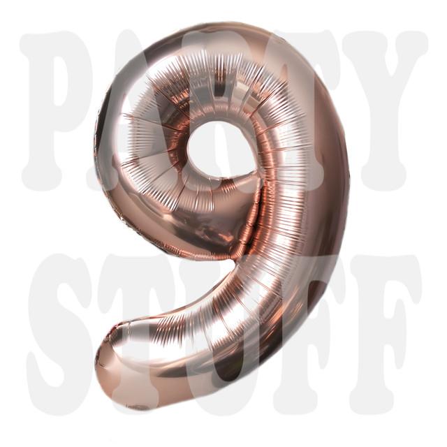 Фольгированный шар цифра 9 розовое золото