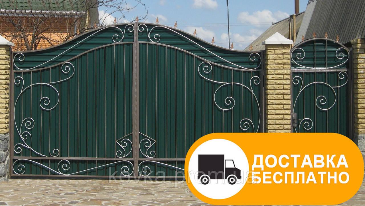 Распашные ворота с калиткой из профнастилом, код: Р-0124
