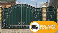 Распашные ворота с калиткой из профнастилом, код: Р-0113
