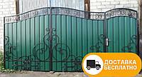 Распашные ворота с калиткой, код: Р-0125
