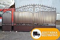 Распашные ворота и калитка с коваными элементами, код: Р-0127