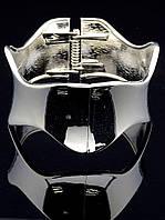 Браслет широкий жесткий серебристый 18 см. 020116
