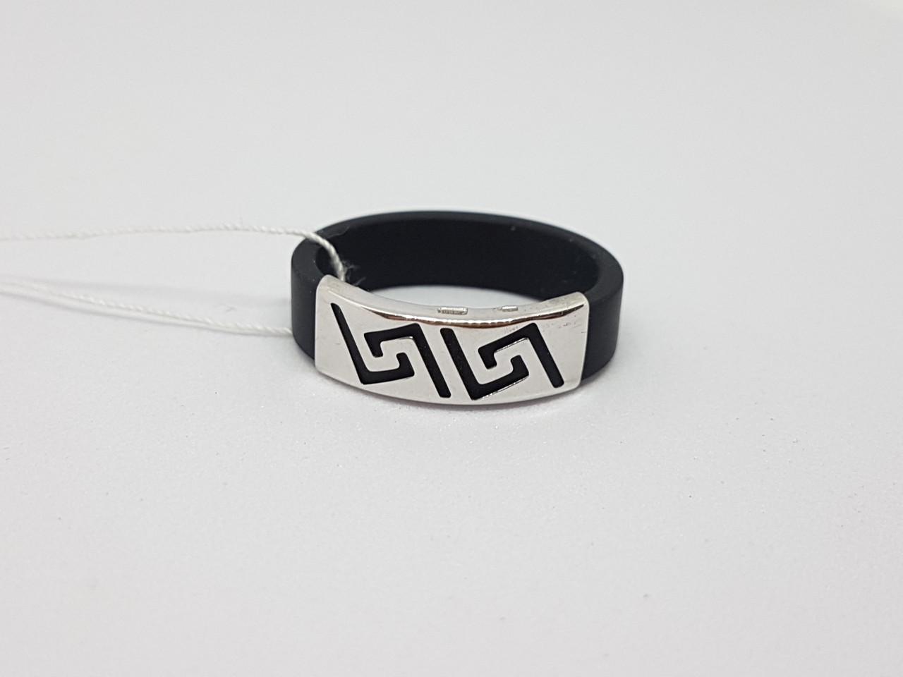 Серебряное кольцо с каучуком. Артикул 900625С 19
