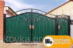 Ворота с калиткой с элементами ковки, код: Р-0134