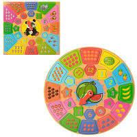Деревянная игрушка Квадратные Часы  Вкладыш Пазл Счёт, MD 1212, 007658