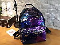 Синий рюкзак с паетками, фото 1