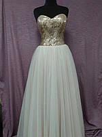 Вечернее выпускное платье длинное пудровое с паетками