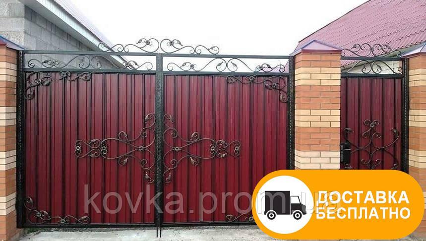 Ворота с ковкой и профнастилом, код: Р-0142